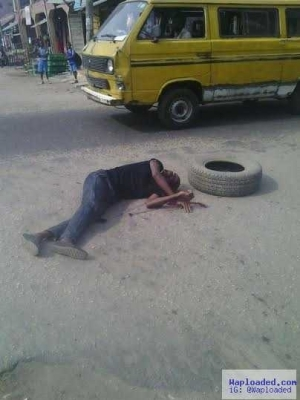 Photos: Man left unattended to after he gets hit by motorcycle in Lagos